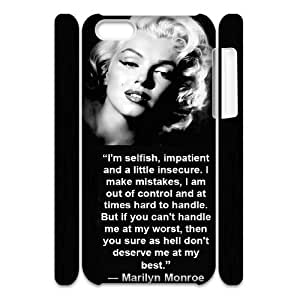 Custom Hard Plastic Back 3D Case Cover for iPhone 5C with Unique Design Marilyn Monroe Quotes