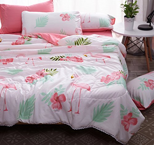 KFZ Bed SET Summer Quilt Washed Cotton Comforter Flat Sheet Pillowcases HYL Twin Sheets Set Raindrop Rabbit Flower Flamingo Design For Kids Adult 4pcs/set (Flower Flamingo,Pink, Twin, 59''x78'') by KFZ