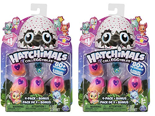 Hatchimals CollEGGtibles Season 4 Kid's Toys (2-Pack) Collectible Playset   Glitter, Metallic, Glow-in-The-Dark- Fuzzy, and Limited Edition Surprises   Girls and ()