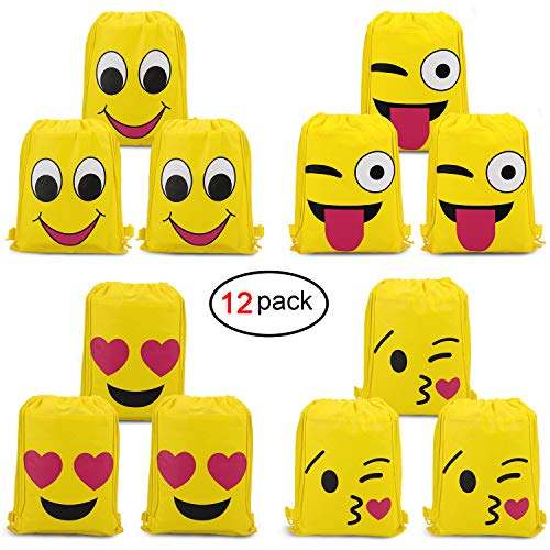 Konsait Emoji Bags for Emoji Party Supplies(12Pack), Emoji Drawstring Backpack Shoulder Bag Bulk Assorted Emoticon Party for Boys Girls Kids Birthday Candy Baby Shower Emoji Party Favors Gift ()