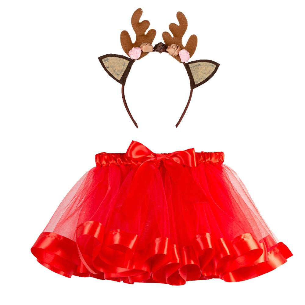 Kids Girls Christmas Outfits Little Girls Tutu Skirts Fancy Party Skirt Headband Clothes Set (age: 4-7 Years, Green) Fdsd
