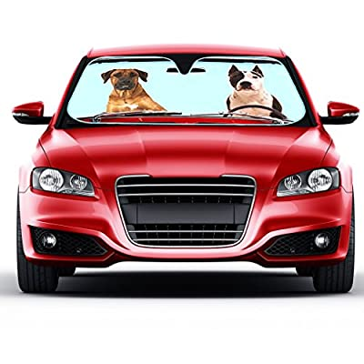 2 Dogs Auto Sun Shade for Car SUV Truck - Pet Pals - Double Bubble Foil Jumbo Folding Accordion for Windshield - UV protection