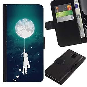 For Samsung Galaxy Note 3 III Case , Balloon Boy Kids Mother Night - la tarjeta de Crédito Slots PU Funda de cuero Monedero caso cubierta de piel