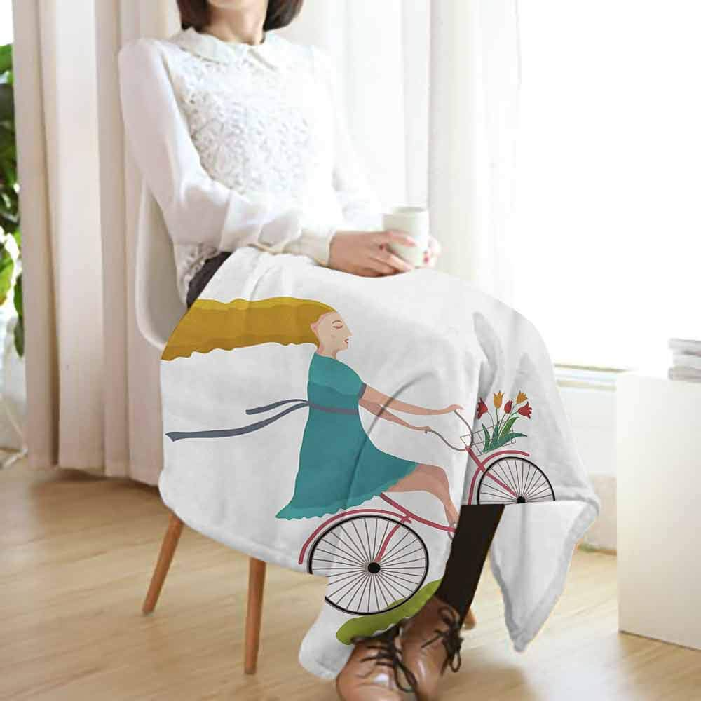 vanfan-home Bicycle Swaddle Blanket,Young Woman on Bike with Basket of Tulip Flowers Riding in The Spring Countryside Lightweight Extra Soft Skin Fabric Not Allergic (60''x35'')-Multicolor by vanfan-home (Image #2)