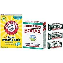 Laundry Soap Kit - Fels Naptha-3 bars, Borax & Washing Soda