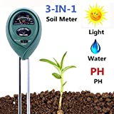 Soil pH Meter, 3-in-1 Soil Test Kit for Moisture, Light & pH/Acidity, Gardening Tools for Home and Garden, Lawn, Farm, Plants, Indoor & Outdoor Plant Care Soil Tester