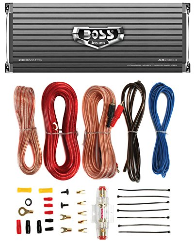 BOSS AUDIO AR2400.4 2400W 4 Channel Car Amplifier AR24004+Remote+8 Ga Amp Kit
