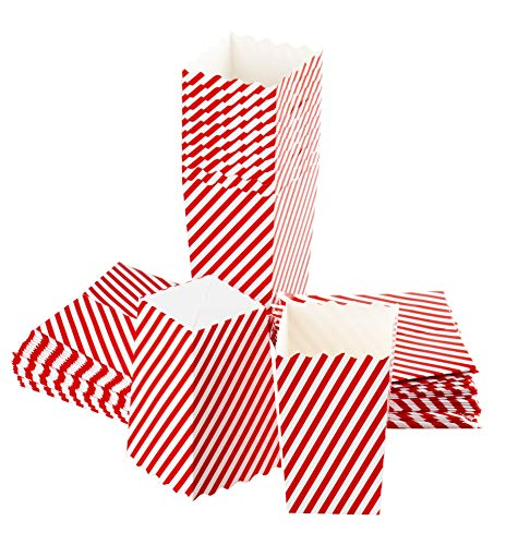 Christmas Candy Container - Set of 100 Popcorn Favor Boxes - 20oz Mini Paper Popcorn Candy Containers, Christmas Party Supplies, Movie Nights, Birthday, Baby Shower, Candy Cane Stripes Design - 3.3 x 5.5 x 3.3 Inches