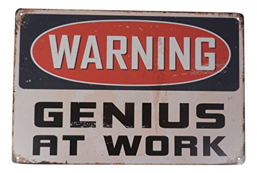Warning Genius At Work Funny Tin Sign Bar Pub Garage Diner Cafe Home Wall Decor Home Decor Art Poster Retro Vintage