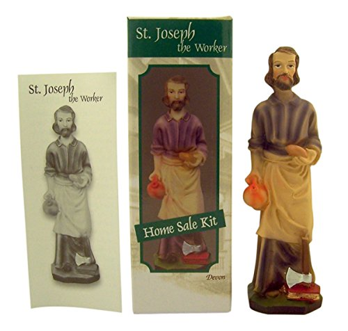 Saint Joseph the Worker Home Sale Kit with Statue and Instructions, 5 Inch -