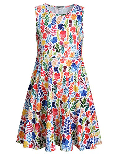 Jxstar Flower Summer Big Girl Casual Dress Floral Printed Sleeveless Holiday -