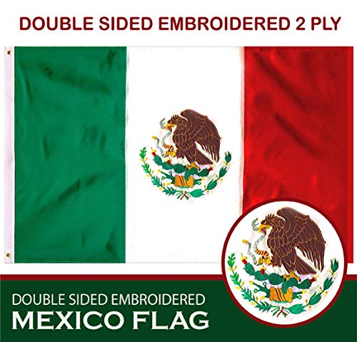 G128 - Mexico (Mexican) Flag | 3x5 feet | Double Sided Embroidered 210D - Indoor/Outdoor, Brass Grommets, Heavy Duty Polyester