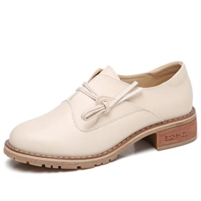 Women Comfortable Slip On Leather Oxford Sneakers Block Heel Beige Round Toe Dress Shoes