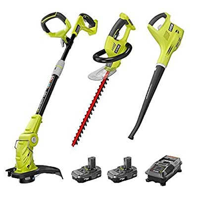 Factory Reconditioned Ryobi P2015 ONE+ 18-Volt Lithium-ion Cordless Trimmer Blower Hedge Combo Kit ZRP2015 Battery and Charger Included by Ryobi