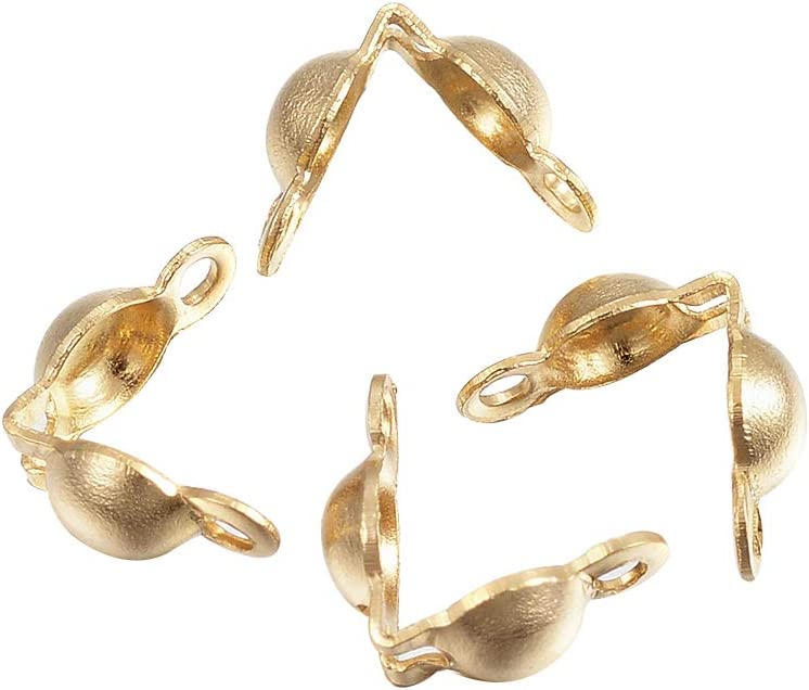 Clamshells BEAD TIPS Callotte Closed Ring Gold x 100