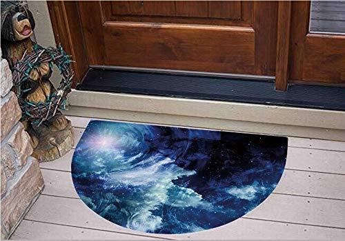 3D Semicircle Floor Stickers Personalized Floor Wall Sticker Decals,Sphere Universe Themed Infinity Design Galaxy,Kitchen Bathroom Tile Sticker Living Room Bedroom Kids Room Decor Art Mural D27.5