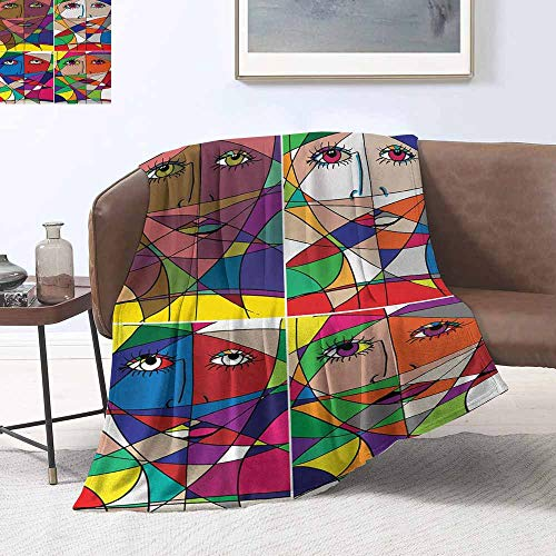 sunsunshine Blanket Throw Sofa/Bedroom Child Blanket Abstract,Abstract Woman Face Illustration Behind Stained Glass Styled Human Facial - Glass Dallas Cowboys Stained