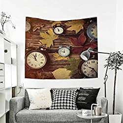 RuppertTextile Fall Wall Hanging Tapestries Different Colored Dry Maple Leaves and Various Alarm Clocks on Wooden Planks Print Home Decorations for Living Room Bedroom 63W x 63L Inch Multicolor