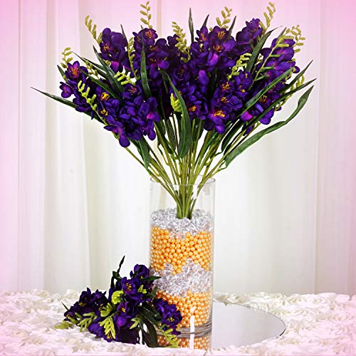 Inna-Wholesale Art Crafts New 4 Purple Bushes Silk Freesia Decorating Flowers Bouquets Reception Party Decoration - Perfect for Any Wedding, Special Occasion or Home Office D?cor (Wedding Bouquet Freesia)