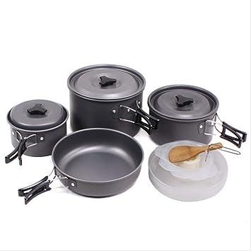 Godbb 4-5 Personas Equipo de Utensilios de Cocina Plegables para Acampar Equipo de lío portátil Macetas de Aluminio livianas Sartenes Platos Tazones ...