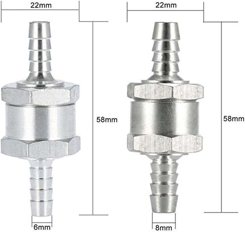 Lezed Clapet Anti-Retour Valve de Carburant en Aluminium Non Retour Clapet Anti-Retour /à Essence Diesels 6mm//8mm//10mm//12mm pour Carburateur Low Syst/èmes de carburant sous pression