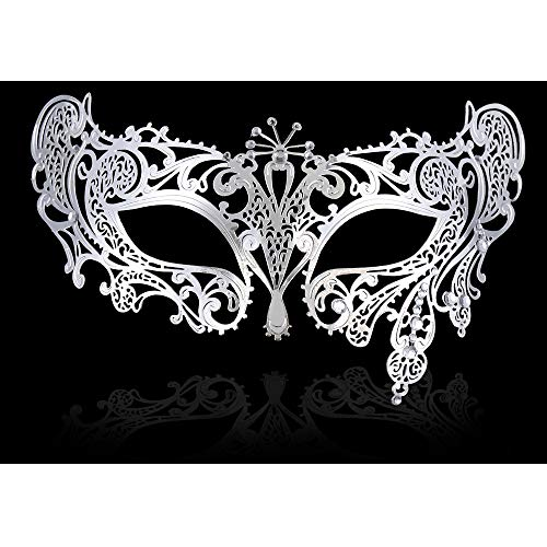 FaceWood Masquerade Mask for Women Ultralight Gorgeous Gold & Silver Shiny Metal Rhinestone Mask. (Peacock Silver) ()