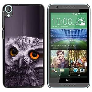 TopCaseStore / la caja del caucho duro de la cubierta de protección de la piel - The Orange Eye Owl - HTC Desire 820