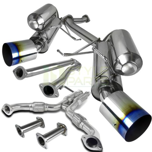 (Spec-D Tuning MFCAT3-G35032 Infiniti G35 Nissan 350Z 2Dr Coupe Dual Exhaust Catback System Burnt Tip)