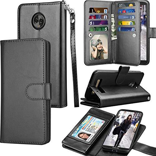 Tekcoo Moto Z3 Case, Motorola Moto Z3 Play Wallet Case, Luxury ID Cash Credit Card Slots Holder Purse Carrying PU Leather Folio Flip Cover [Detachable Magnetic Hard Case] & Kickstand - Black