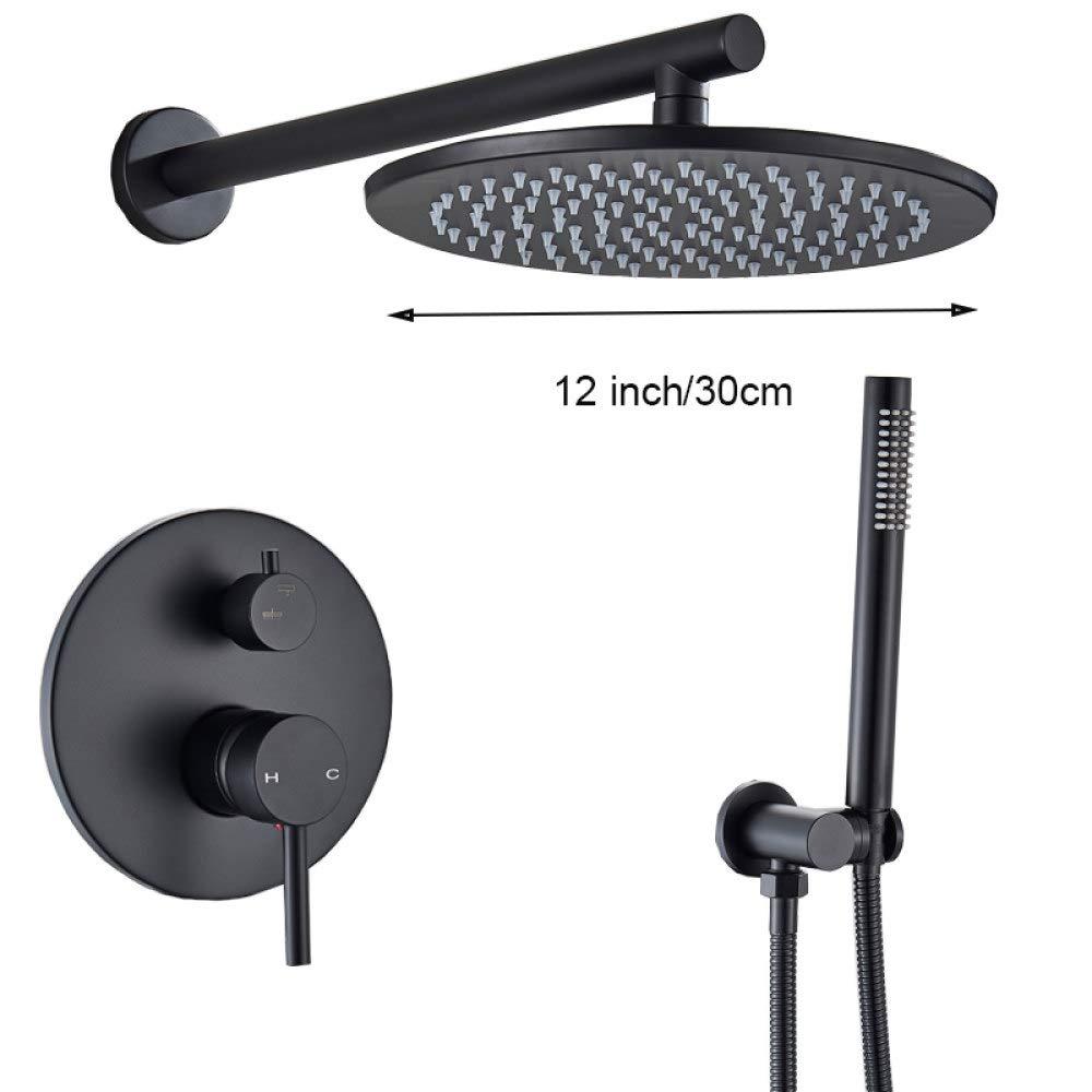 12 pulgadas de espesor FYJIDY Set de ducha //Grifo de ducha/negro mate redondo/Lat/ón Juego de ducha fr/ía y caliente de 2 funciones Grifo de ba/ño montado en la pared Rounder Head Shower