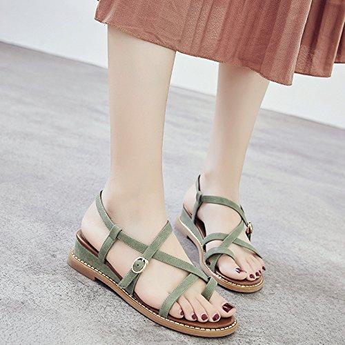 39 Sandalias de de Fondo Mujer Mujer Verano Plano Zapatos Zapatos ZHANGJIA Roma de MsWomen Zapatos Zapatos Hebilla de wx4nBXTRqv