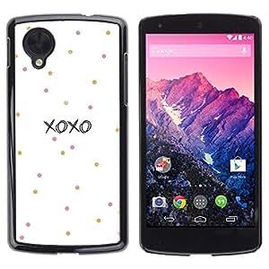 Xoxo Amor Besos Sweetheart Blanca - Metal de aluminio y de plástico duro Caja del teléfono - Negro - LG Nexus 5 D820 D821