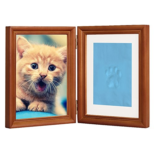 "Coffee Personalized Dog or Cat Pet Memorial Frame Paw Prints Desk Photo Frame Modern Wall Hanging Double Picture Frames with Clay Imprint Kit Perfect Pets Keepsake - 5"" x 7"" or 4"" x 6"""