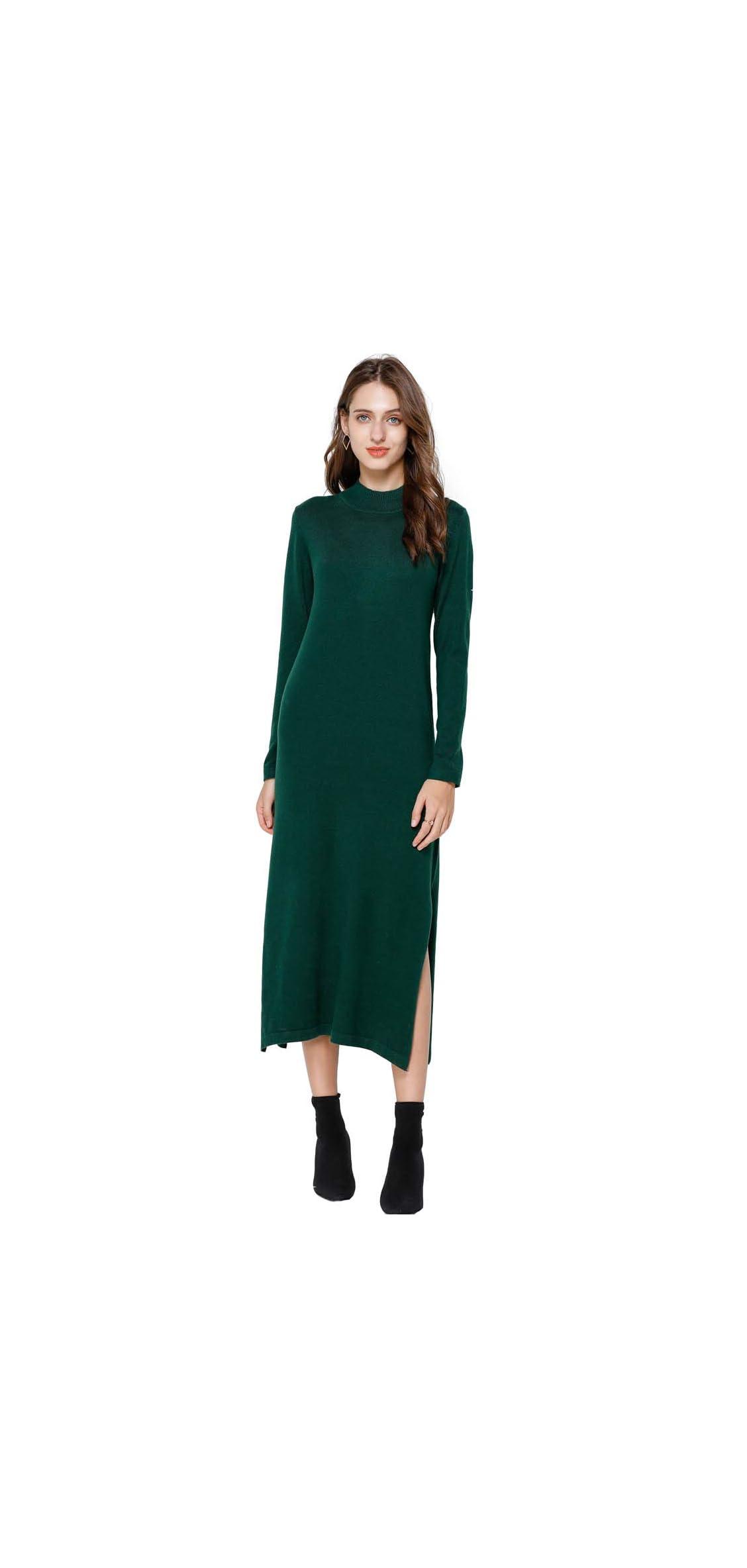 Cashmere Sweater Dress For Women Crewneck Calf Length