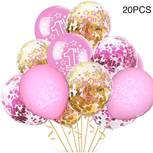 First Birthday Balloons, light Pink,Rose red,Gold Confetti Balloons Pack of 20, 12 Inch, Great for Baby Girl 1st Birthday Party Supplies Decorations