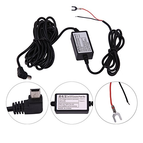 YuYiF DC 12V to 5V 2A 3M Car Charger Cable Mini USB Hardwire Charger Cord Auto Charging Kit for Dash Cam Camcorder Vehicle DVR