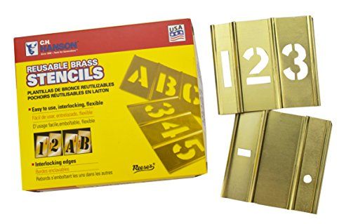 Stencils Brass Interlocking - CH Hanson 10014 4 inch Brass Interlocking Numbers Stencils 15 Piece Set