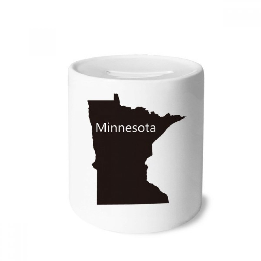DIYthinker Minnesota America USA Map Silhouette Money Box Saving Banks Ceramic Coin Case Kids Adults