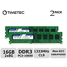 Timetec Hynix IC 16GB Kit (2x8GB) DDR3 1333MHz PC3-10600 Unbuffered Non-ECC 1.5V CL9 2Rx8 Dual Rank 240 Pin UDIMM Desktop Memory RAM (16GBKit (2x8GB))