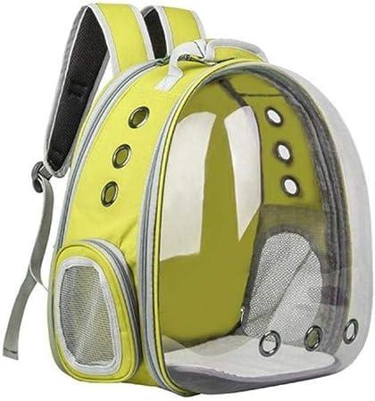 LCK Portable Pet Cat Backpack Foldable Multi-Function Pet Dog Carrier Bag Large Space Capsule Bubble Shoulder Pet Backpack,Yellow: Amazon.es: Hogar