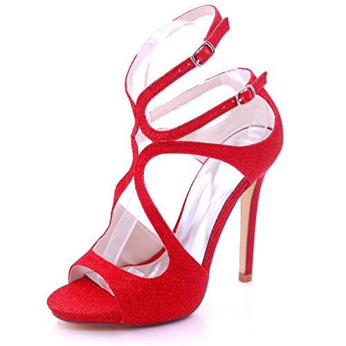 L@YC Zapatos de Tacón Alto Para Dama de Honor D7216-06C de Mujer Zapatos de Punta Abierta Sandalias de Punta Abierta Red