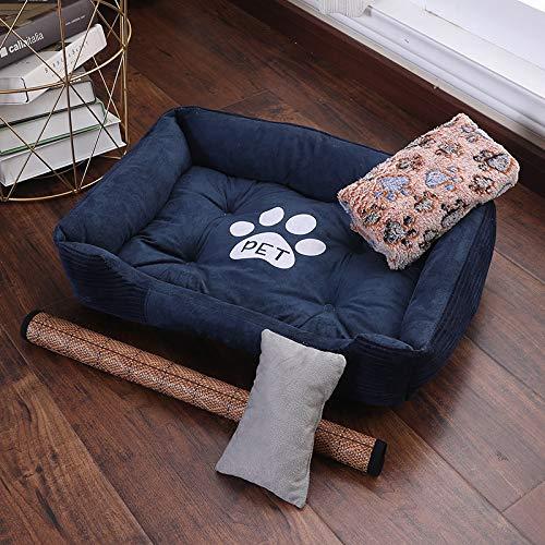 Glashaus Kennel winter Baodi small dog large dog bed four seasons universal dog mat pet nest cat litter, navy bluee four-piece suit, 120  90cm