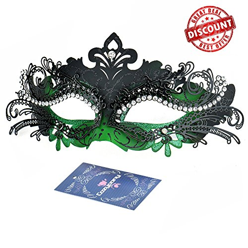 Masquerade Masks, Cozypony Lacer Cut Luxury Princess Venetian Ball Masks with Rhinestone for Halloween Mardi Gras Party or Wedding (One Size, Black+Green)