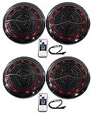 (4) Rockville RMC65LB 6.5'' 1200w Black Marine Speakers w/Multi Color LED+Remote