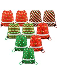 Christmas Gift Bags Drawstring Backpack Bulk 10 Pack, Santa Goody Treat Bags for Party Favors and Candy