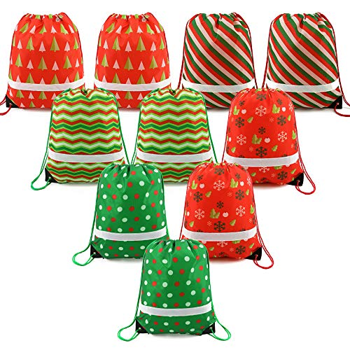 Christmas Gift Bags Wrapping Drawstring Bag Backpack Bulk 10 Pack, Santa Goody Treat Bags for Party Favors and Candy