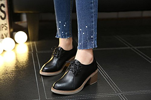 Nuove Up Comfort Testa Scarpe Inverno Tondo Leisure 37 Primavera Autunno Lavoro Eur39uk665 Artificiale Nero Singole Donna 5 Lace Marrone 5 Heel 4 uk Rough Pumps Nvxie Eur Pu Mid zwRWqEIxq