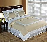 Royal Hotel 3-Piece 100% Cotton King Duvet Cover Set, White & Linen Deal (Small Image)