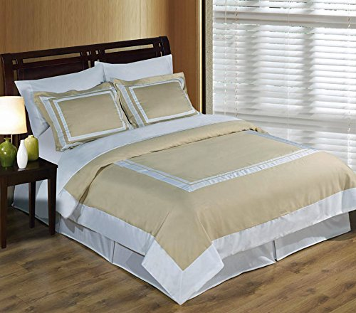 Hotel Linen and White 3-Piece Full / Queen Duvet-Cover-Set, 100-Percent Cotton, 300-Thread-Count (Queen Duvet Cover Set Ivory)