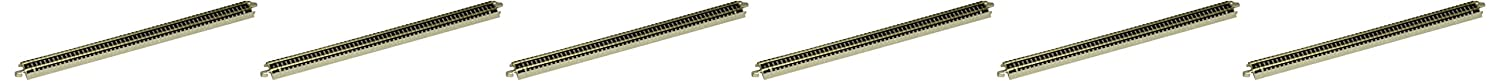 Bachmann Trains Snap Fit E Z Track® 10 Straight Track 6 Card Nickel Silver Rails Gray Roadbed – N Scale